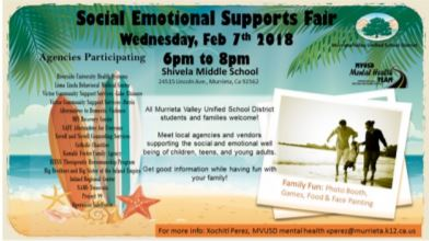 social emotional support fair flyer showing info & a family at the beach