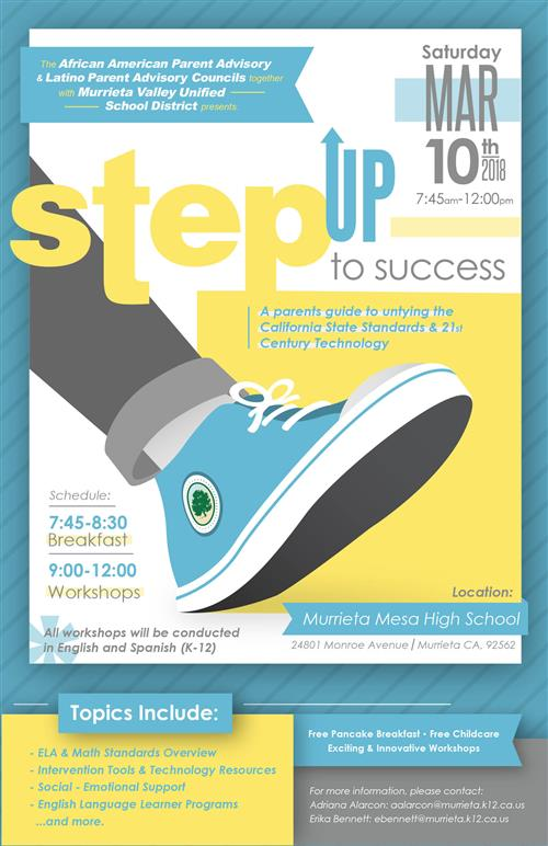 Step up to Success flyer March 10 parent event