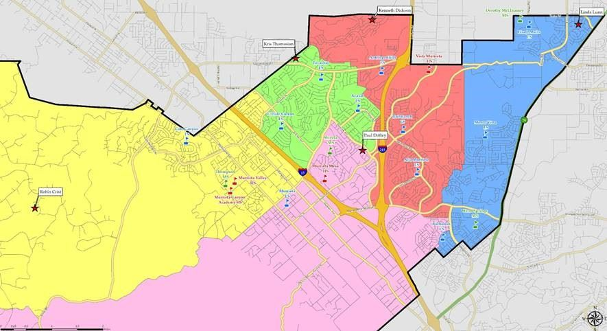 trustee area map showing colored areas