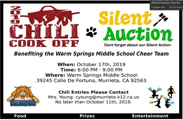 Support WSMS Cheer Team - 2019 Chili Cook Off and Silent Auction