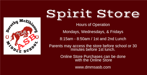 Hours of Operation  Mondays, Wednesdays, & Fridays  8:15am - 8:50am  1st and 2nd Lunch  Parents may access the store before s