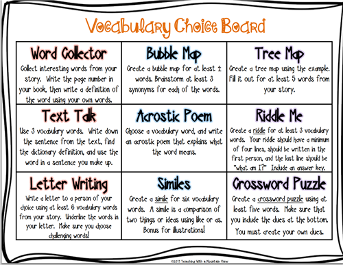 Wallace, Ben / Vocabulary Activities Menu