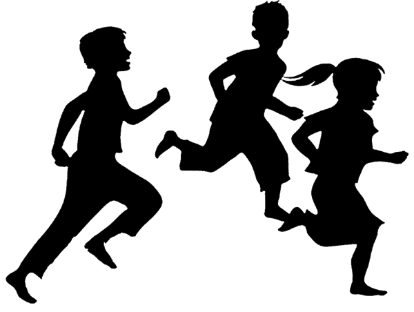Image of three running children