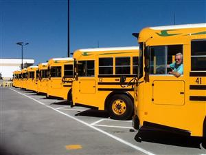 a row of MVUSD school busses