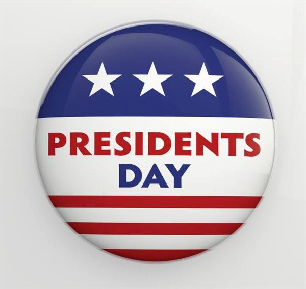 Button for Presidents Day with stars & stripes