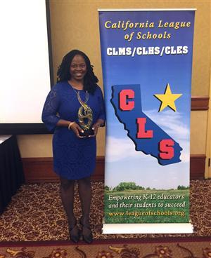 Shonda Burrus poses at California League of Schools conference