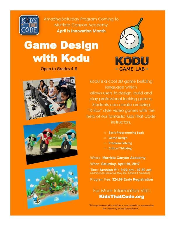 Game Design with Kody for grades 4 to 8 on April 29th 9:00 - 10:30 am