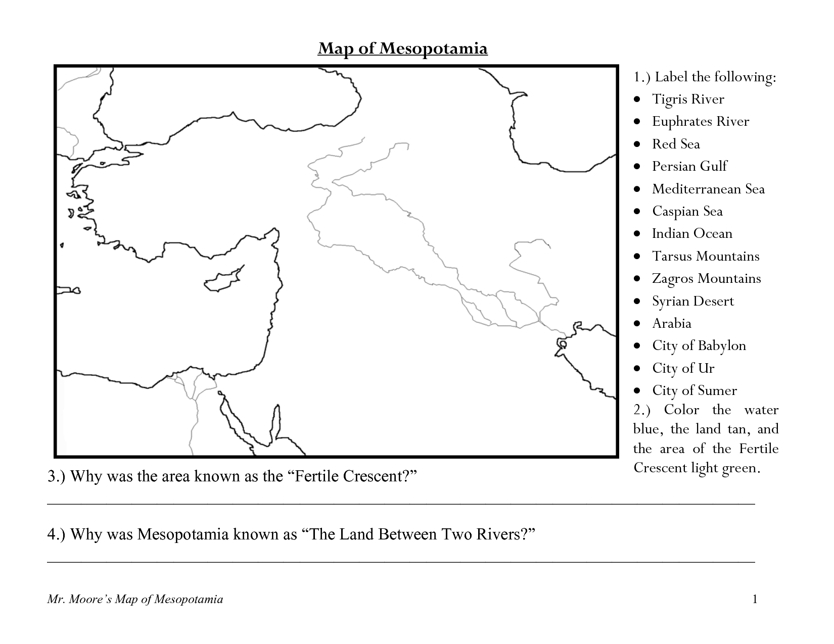 Printables Mesopotamia Worksheets mesopotamia map worksheet davezan ancient bloggakuten