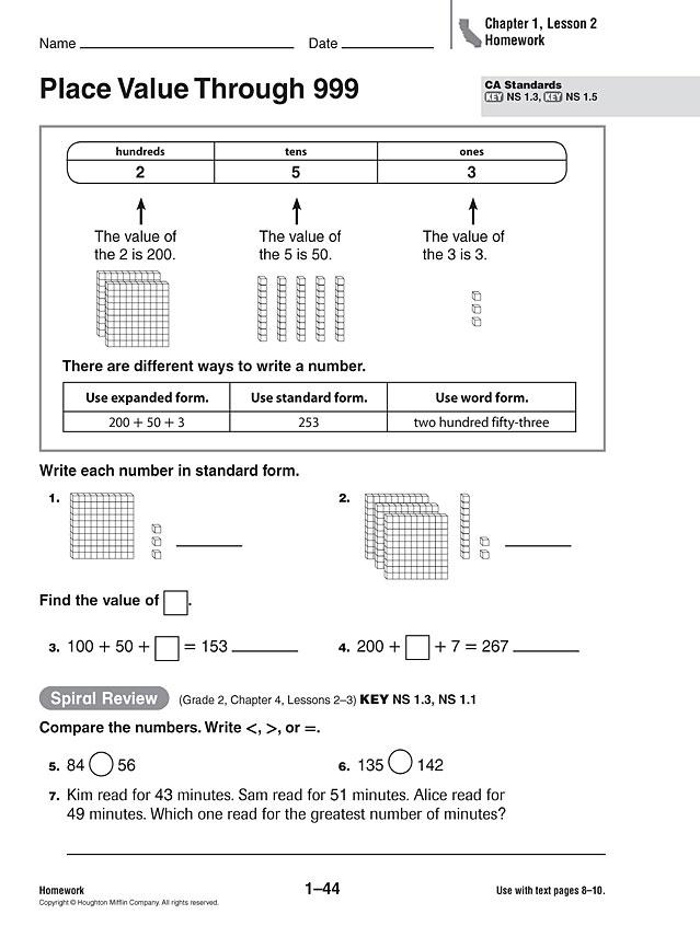 place value maths homework